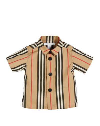 Sammi Icon Stripe Short-Sleeve Collared Shirt, Size 6M-2