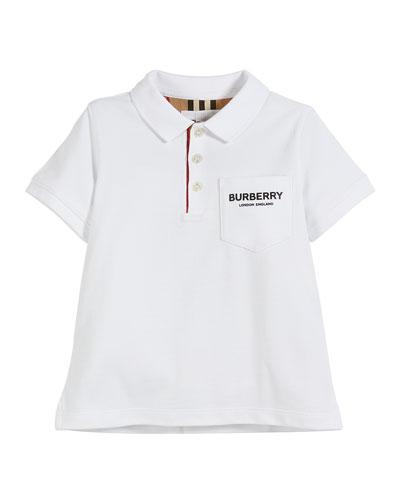 Wesley Polo Shirt w/ Logo Print Front Pocket, Size 3-14