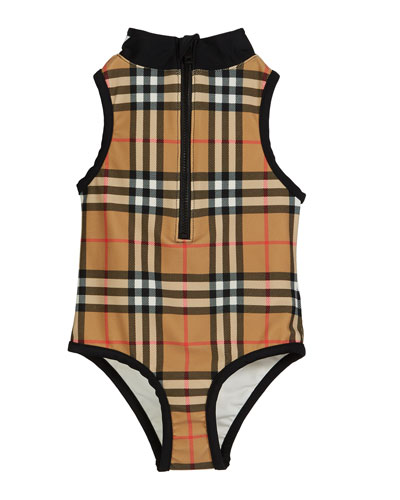 Siera Check One-Piece Swimsuit, Size 3-14