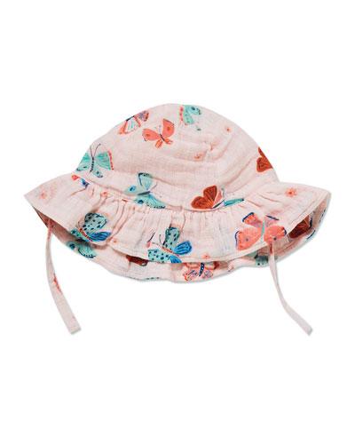 Butterfly Print Muslin Sun Hat, Size 0-24 Months