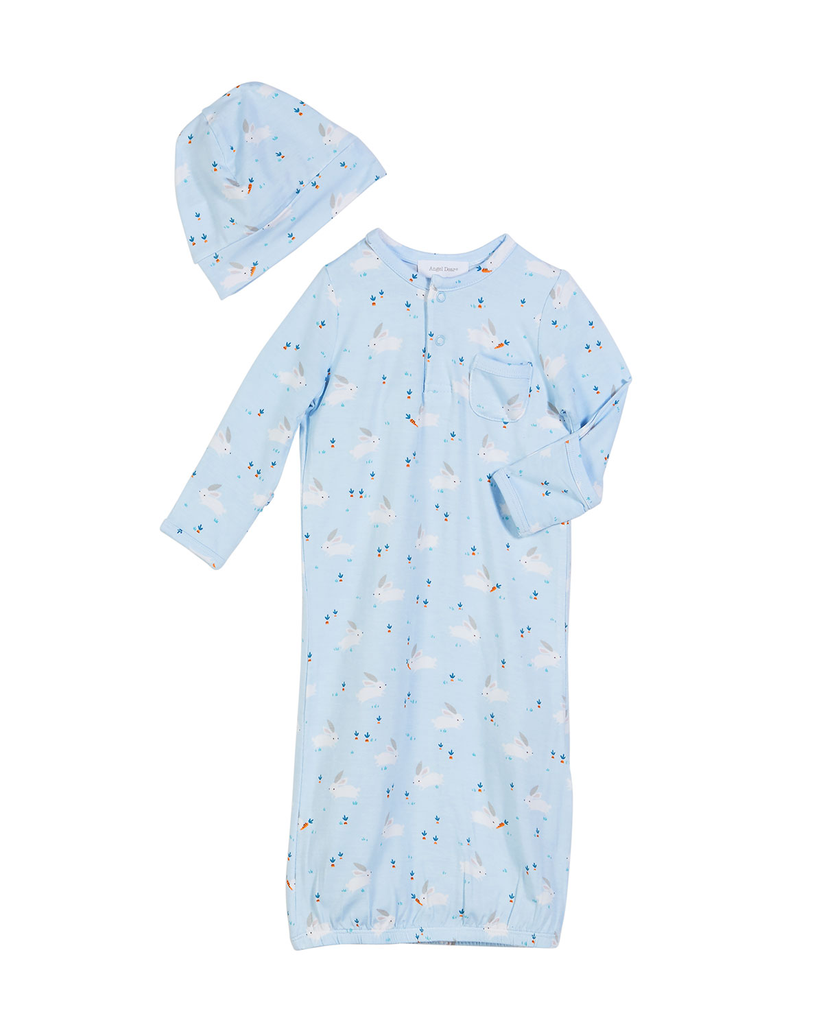 Bunnies Print Convertible Gown w/ Matching Hat