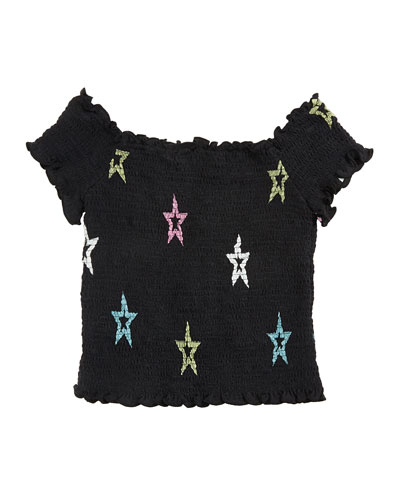 Pastel Star-Print Smocked Top, Size S-XL