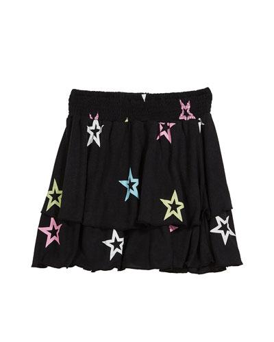 Pastel Star-Print Tiered Skirt, Size S-XL