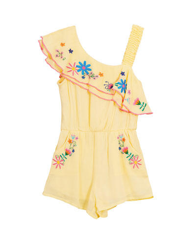 Floral Embroidered Woven One-Shoulder Romper, Size 7-14