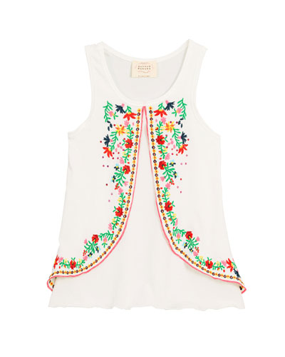 Embroidered Sleeveless Tunic Top, Size 4-6