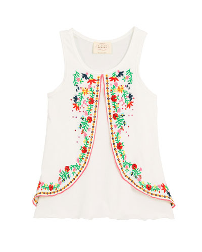 Embroidered Sleeveless Tunic Top, Size 7-14