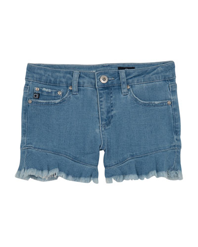 Girls' The Aria Ruffle-Hem Denim Shorts, Size 7-14