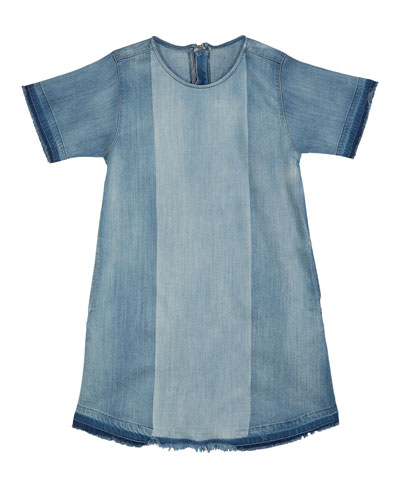 Kiki Mixed Denim Frayed Edges Dress, Size S-L