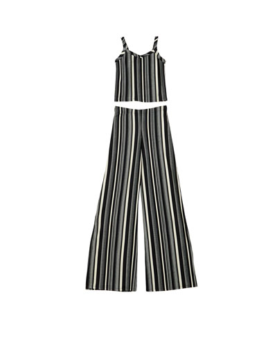 The Catte Stripe Crepe Crop Top w/ Matching Wide Leg Pants, Size S-XL