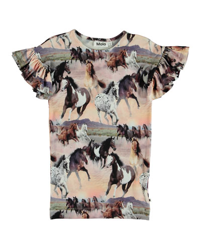 Coralie Horse Print Short-Sleeve Dress, Size 3T-12