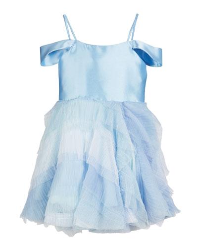 Matte Sateen & Ombre Mesh Ruffle Dress, Size 7-16