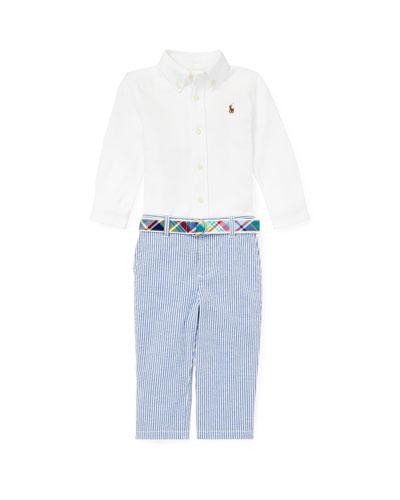 Button-Down Collar Top w/ Striped Seersucker Pants & Plaid D-Ring Belt, Size 6-24 Months