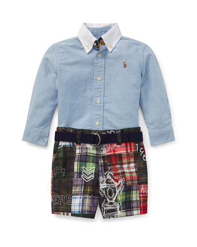Chambray Top w/ Patchwork Shorts & Solid D-Ring Belt, Size 6-14 Months