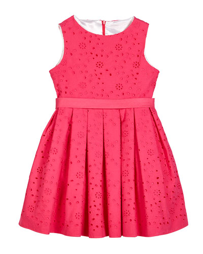 Eyelet Embroidered Sleeveless Dress, Size 2-6