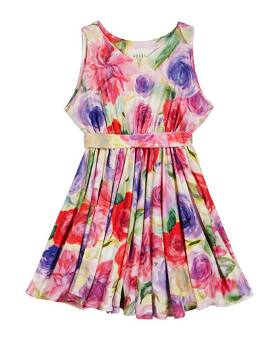 Pastel Rose Print Knit Dress, Size 7-14