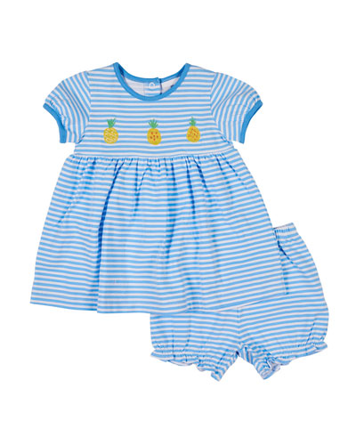 Pineapple Embroidered Stripe Dress w/ Matching Bloomers, Size 3-24 Months