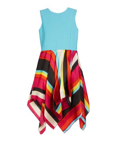 Bayadere Solid & Stripe Handkerchief Dress, Size 7-16