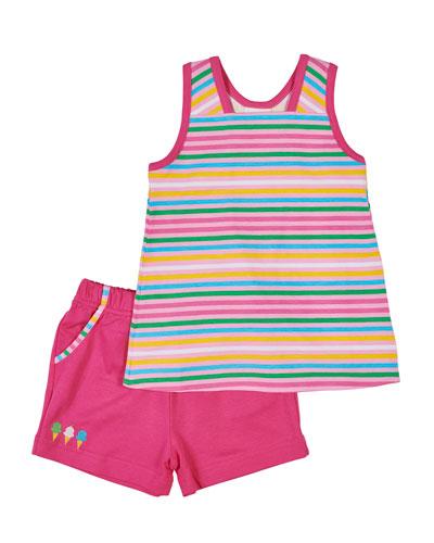 Florence Eiseman Multi-Stripe Tank Top w/ Matching Shorts,
