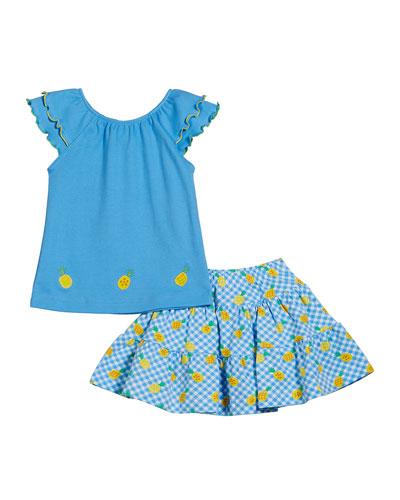Ruffle Sleeve Top w/ Gingham Pineapple-Print Skort, Size 2-6X