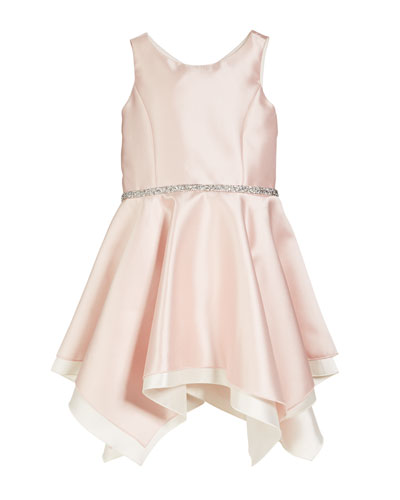 Sleeveless Handkerchief Dress with Crystal Belt, Size 4-6X