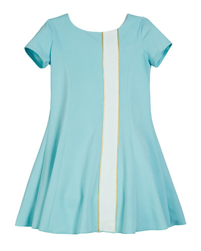 Knit Colorblock Fit & Flare Dress, Size 7-16