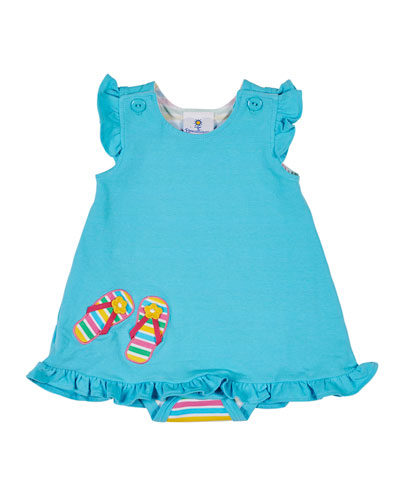 Striped Bodysuit w/ Attached Solid Dress, Size 3-18 Months
