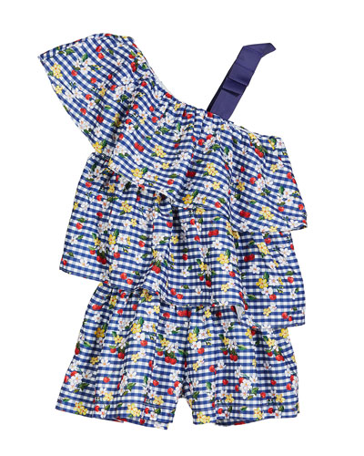 Gingham & Floral Ruffle Romper, Size 4-7