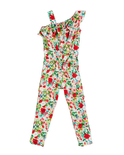 Floral-Print One-Shoulder Jumpsuit, Size 4-7