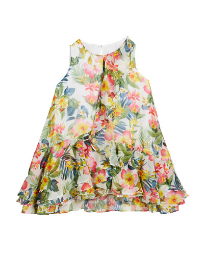 Jungle Floral Print Ruffle Dress, Size 4-7