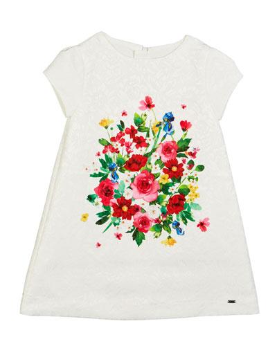 Floral Jacquard Cap-Sleeve Dress, Size 4-7