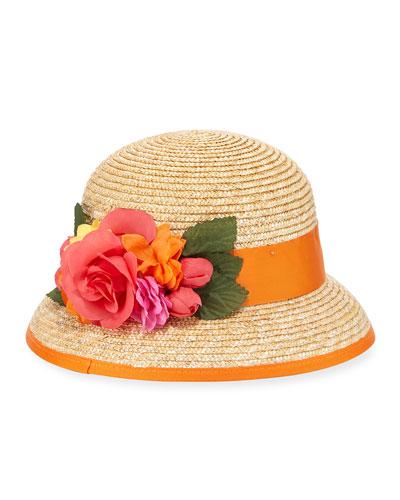 Kids' Straw Bucket Hat w/ Rosettes