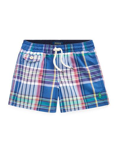 Plaid Swim Trunks, Size 5-7