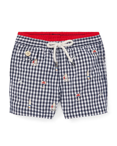 Beach Icon Embroidered Gingham Swim Trunks, Size 12-24 Months