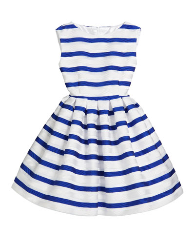 Horizontal Stripe Organza Pleated Dress, Size 7-14