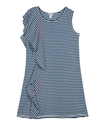 Slub Jersey Striped Frill Trim Dress, Size 7-14