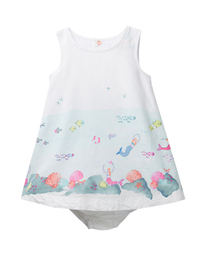 Bunty Under the Sea Print Dress w/ Matching Bloomers, Size 6-24 Months