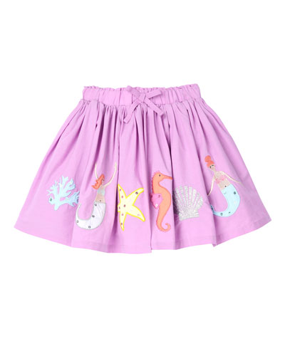 Mermaid Applique A-Line Pleated Skirt, Size 2-6