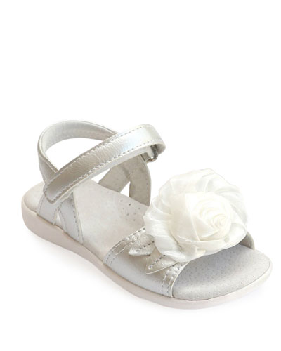Rosamund Rosette Leather Sandal, Kids