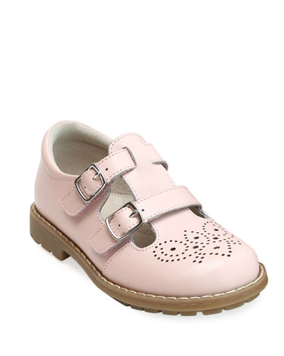 Beatrix Double Buckle Leather Mary Jane, Kids