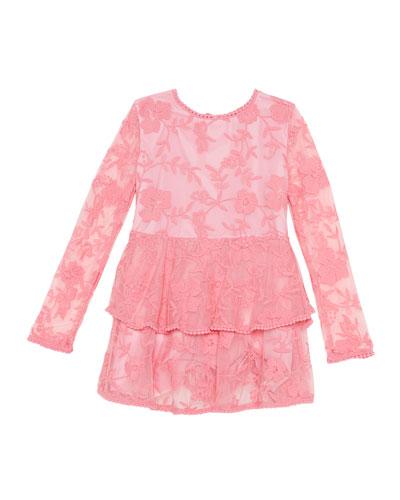 Ember Long-Sleeve Lace Dress, Size 8-16