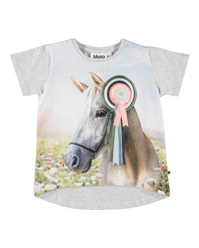 Risha Show Horse Print Short-Sleeve Tee, Size 3-12
