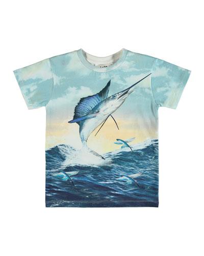 Raul Jumping Swordfish Print Short-Sleeve Tee, Size 4-10