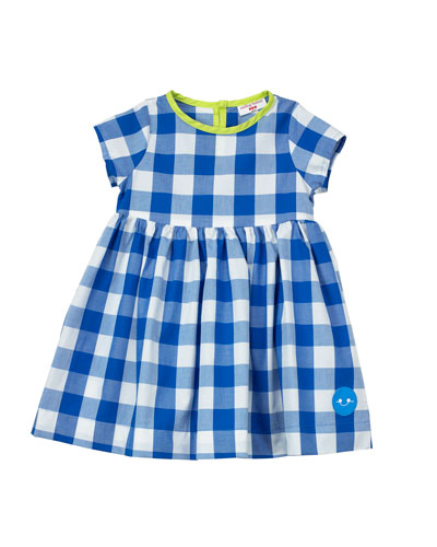 Gingham Short-Sleeve Dress w/ Neon Trim, Size 7-10