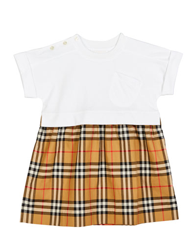 Girls Contrast Sleeveless Skater Dress Casual Party Bow Top Pleated Skirt 3-14 Y