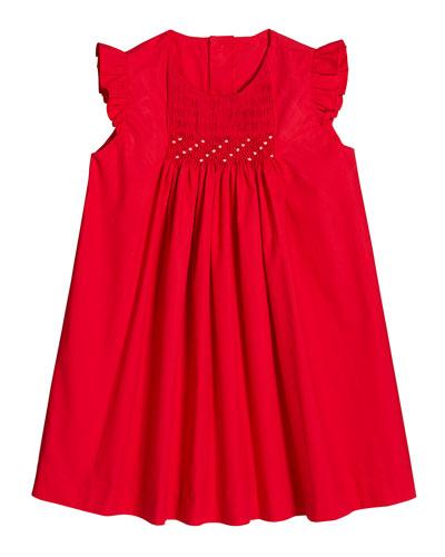 Ruffle-Sleeve Smocked Dress, Size 2-4T
