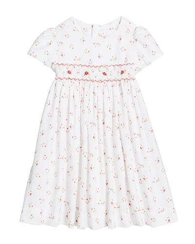 Floral Smocked Waist Dress, Size 2-4T
