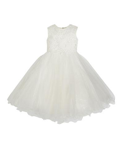 Lace & Sequin Tulle Tea Length Dress, Size 6-12