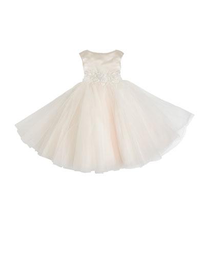 Satin & Tulle Tea Length Dress, Size 4-10
