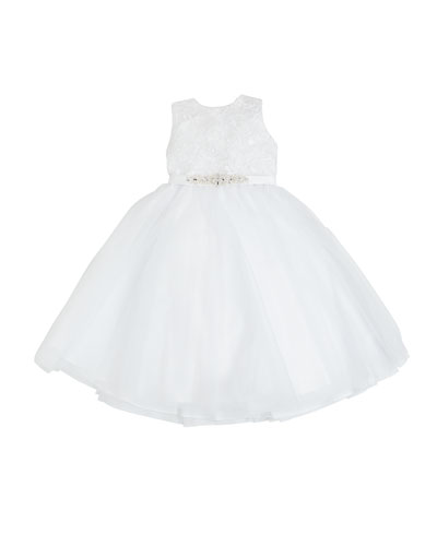 Tulle Embroidered Dress w/ Crystal Belt, Size 3-12