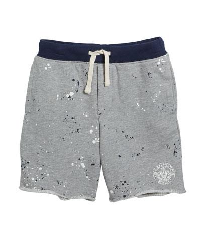 Paint Splatter Drawstring Sweat Shorts, Size 5-7